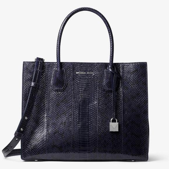 "Michael Kors Handbags - BNWT Michael Kors Mercer Snakeskin Tote ""ADMIRAL"""